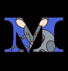 Serif alphabet letter m with doodle mouse vector
