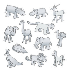 Set animals from pieces paper vector