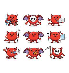 set devil character design vector image