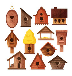 set different wooden handmade bird houses vector image