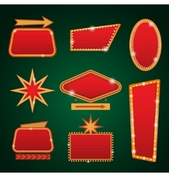 Set of golden lights casino banners copy space vector
