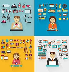 Set of professions Yoga instructor interviewer vector