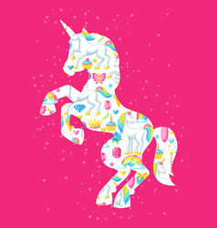 Silhouette of unicorn with fantasy items and vector