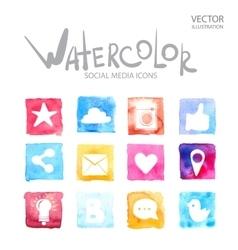 Social media symbols Watercolor icon vector image
