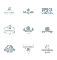 Space mission logo set simple style vector