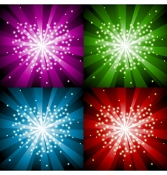 Sparkling background with heart in four colors vector image
