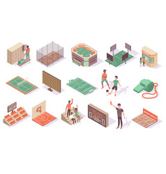 sport stadium isometric collection vector image