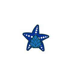 star fish and hop logo designs inspiration vector image