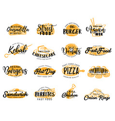 street fast food and snack icons lettering vector image