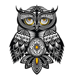 Tattoo art owl vector