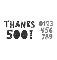 thanks 500 followers likes hand written lettering vector image