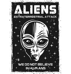 vintage poster with alien head vector image