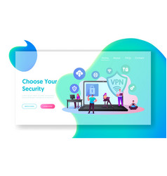 virtual private network vpn landing page template vector image