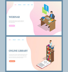 Webinar and online library e-learning vector