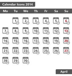 April 2014 Calendar Icons vector image