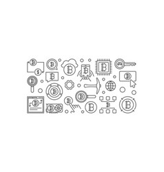 cryptocurrency horizontal outline banner - vector image