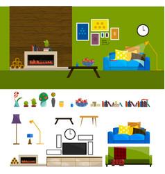 flat interior set for home living room furniture vector image