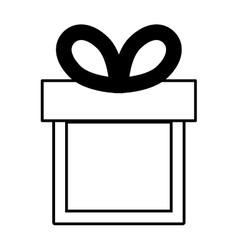 gift box ribbon black bow linear vector image