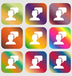 People talking icon sign Nine buttons with bright vector image vector image