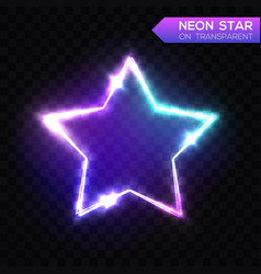 abstract neon star on blue transparent background vector image