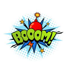 boom exlosion sound comic cartoon style bubble vector image