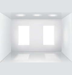 empty white room with windows front veiw vector image vector image