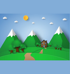 House on the hill with nature landscape paper vector