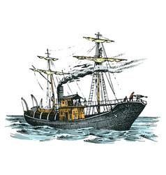 motor ship in the sea summer adventure active vector image