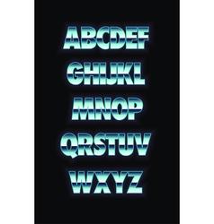 Neon and metal glowing alphabet vector image