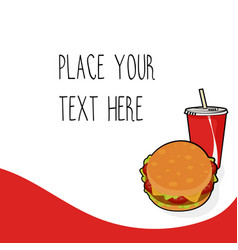 red template with burger and red soda cup vector image vector image