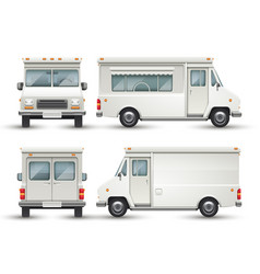 white blank food car commercial truck isolated vector image vector image