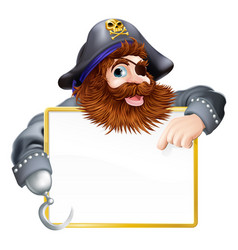Happy pirate pointing at sign vector
