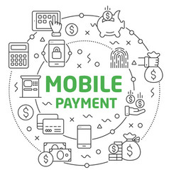 mobile payment linear vector image