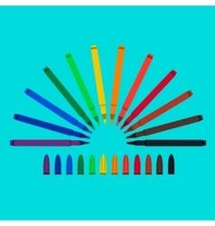 Set of felt-tip pens red green yellow purple vector image vector image