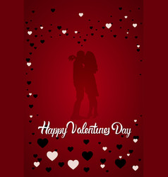 silhouette couple kissing happy valentines day vector image vector image