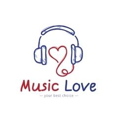 sketch style music store logo Headphones vector image