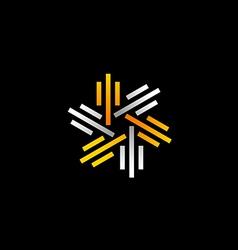 stripe line circle abstract logo vector image