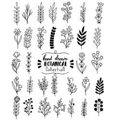 0085 hand drawn flowers doodle vector