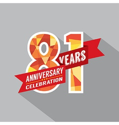 81st Years Anniversary Celebration Design vector image