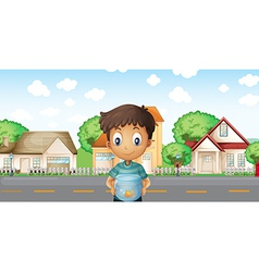A boy with an aquarium standing across the vector image