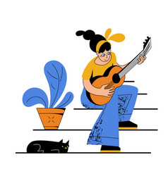 A girl playing an acoustic guitar vector