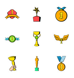 achievement icons set cartoon style vector image