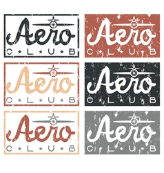 aero club quote on vintage grunge labels set vector image