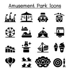 Amusement park festival icon set vector