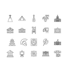 art gallery line icons signs set outline vector image