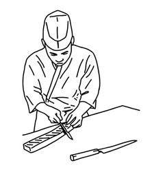 Asian chef filleting fish to make sushi vector