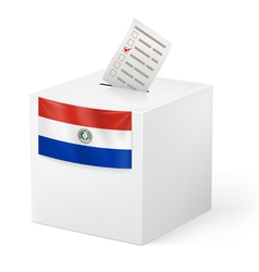 Ballot box with voting paper paraguay vector