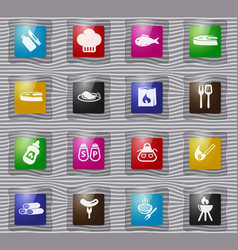 barbecue glass icons set vector image