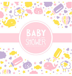 Bashower invitation card template cute baby vector