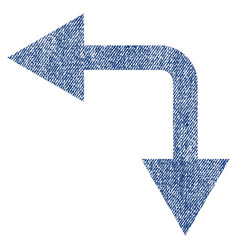 bifurcation arrow left down fabric textured icon vector image